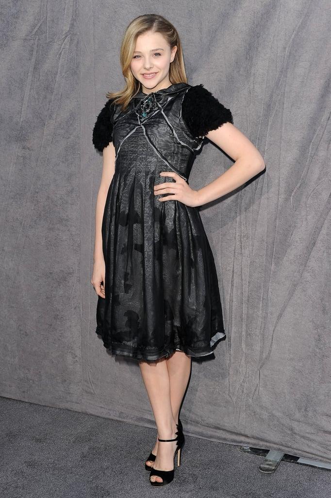 Chloë Moretz wore a sheer black dress to the Critics' Choice Movie Awards.
