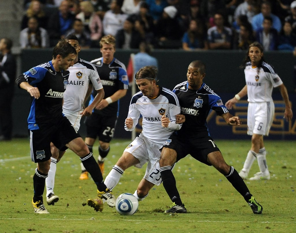 David Beckham playing for the Galaxy.