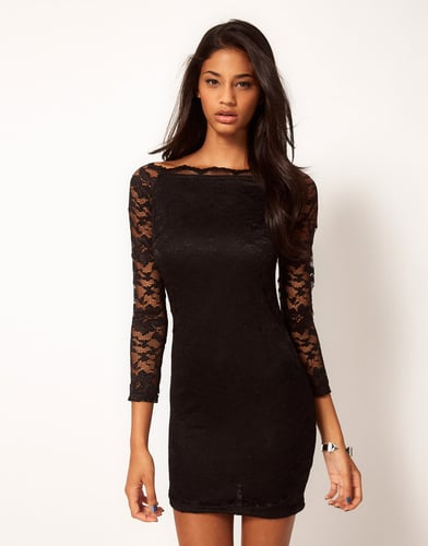 ASOS Body-Conscious Lace Dress with Off Shoulder