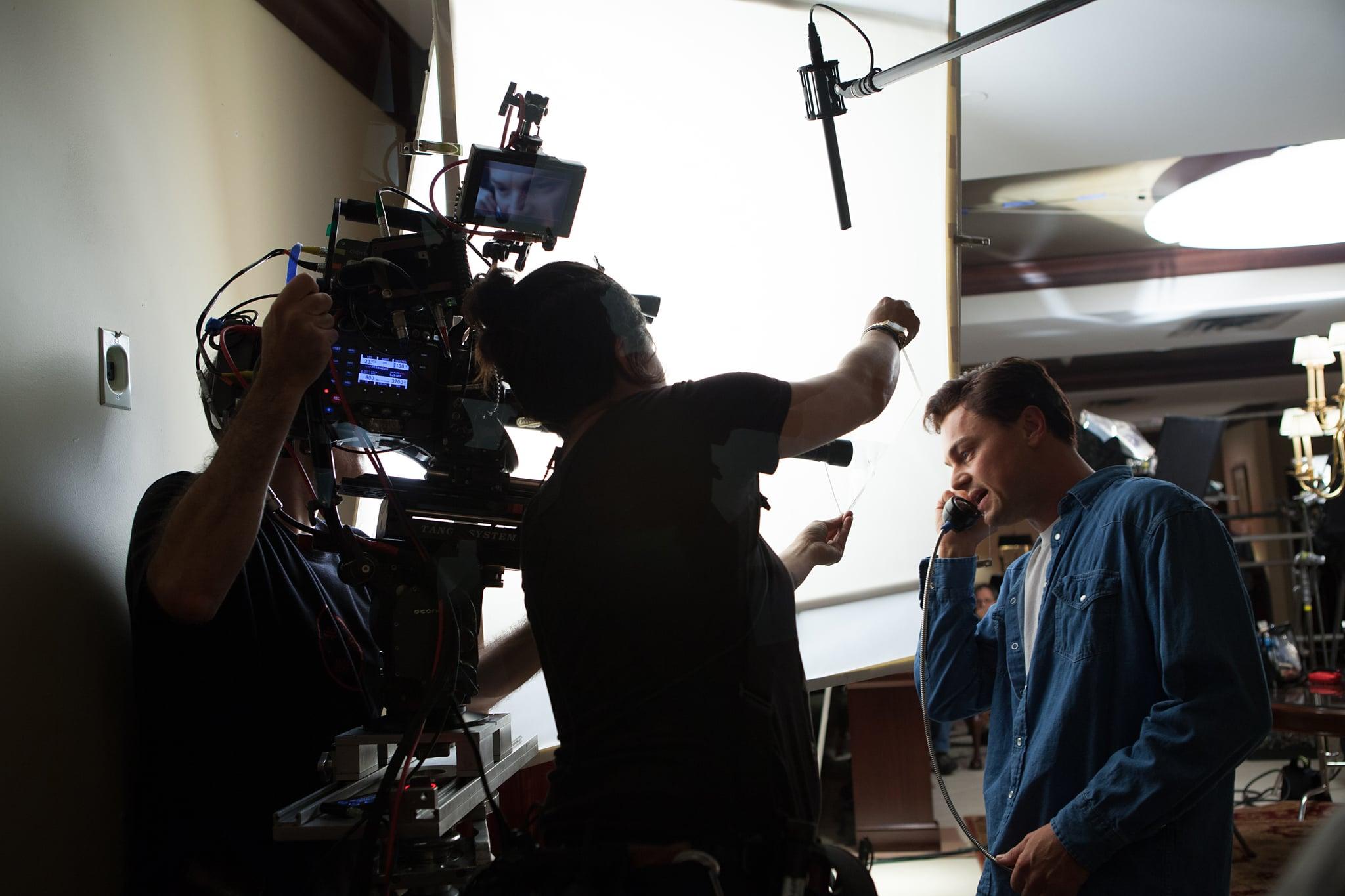 DiCaprio in character as Jordan Belfort.