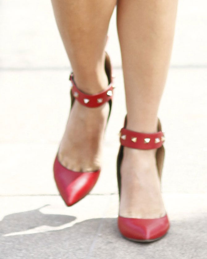 Pointed-toe pumps were a big hit around the tents; with studs they're even more appealing. Source: Greg Kessler