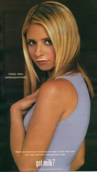 """In a very Buffy fashion, Sarah Michelle Gellar's ad called for people to """"slay"""" osteoporosis."""
