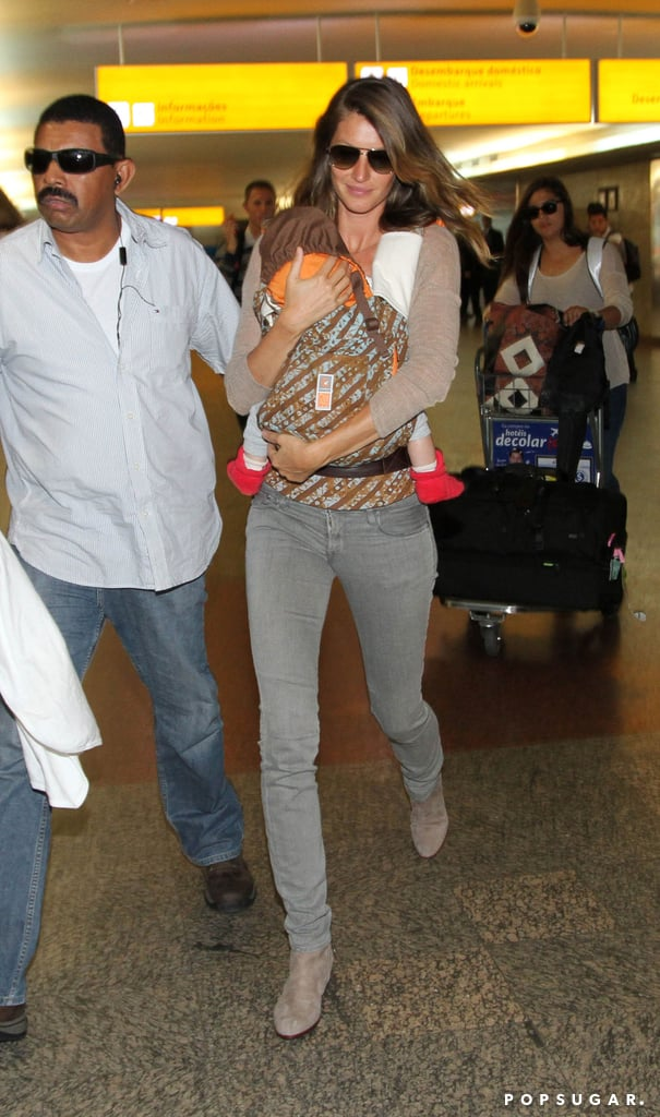 Gisele Bündchen and baby Vivian landed in Sao Paulo.
