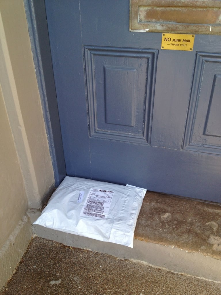 The only downside to online shopping — when your husband finds doorstep packages before you do. Busted.