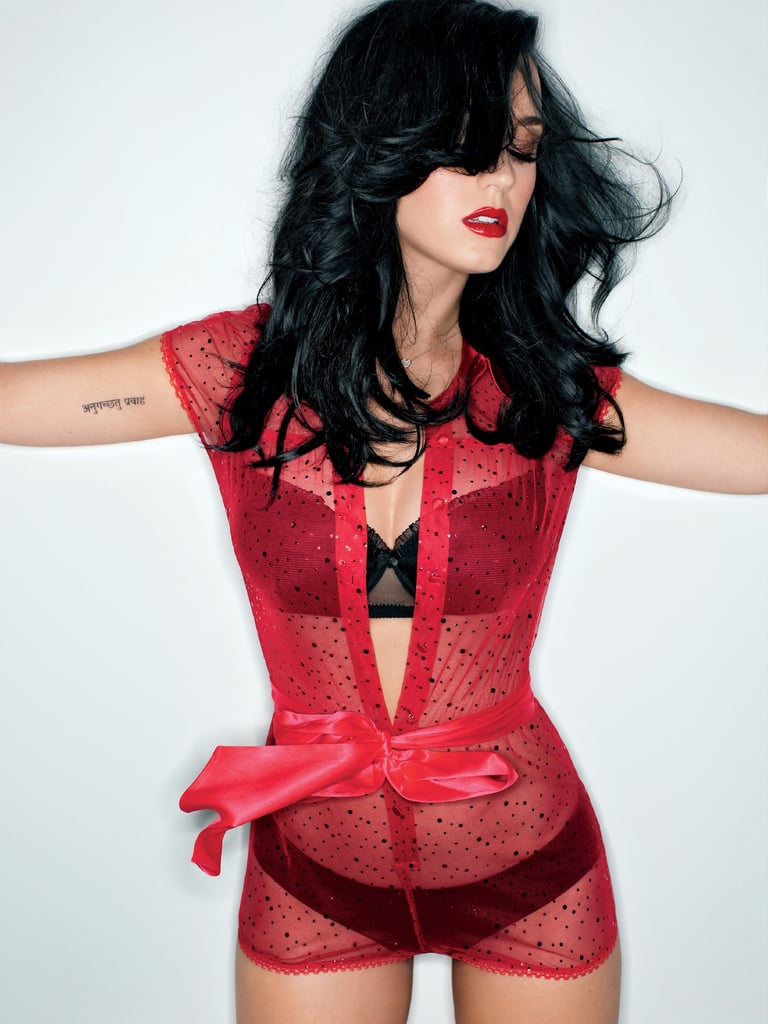 Katy slipped into black lingerie for her cover story in the February 2014 issue of GQ.