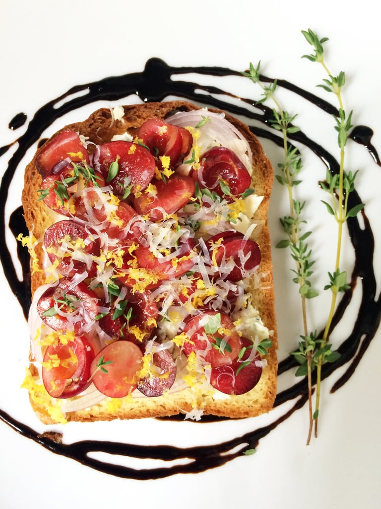 Brioche With Cherries, Blue Cheese, and Shallots