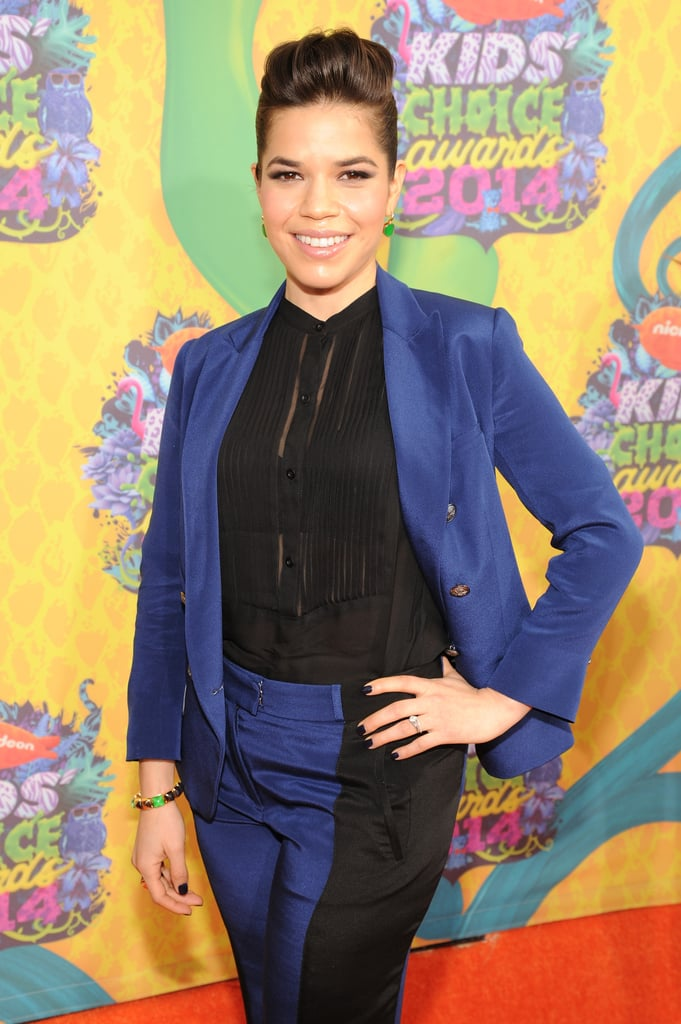 America Ferrera was all smiles in a black-and-blue suit.