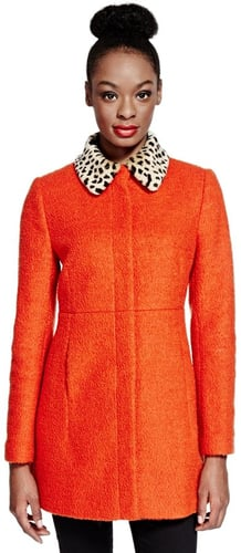 Limited Edition Faux Fur Leopard Print Collar Coat with Wool