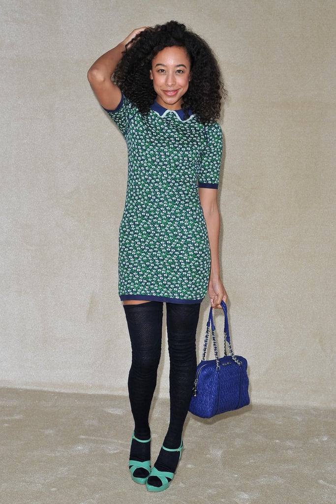 Corinne Bailey Rae stepped out in thigh-high stocks and a pretty print for Miu Miu.