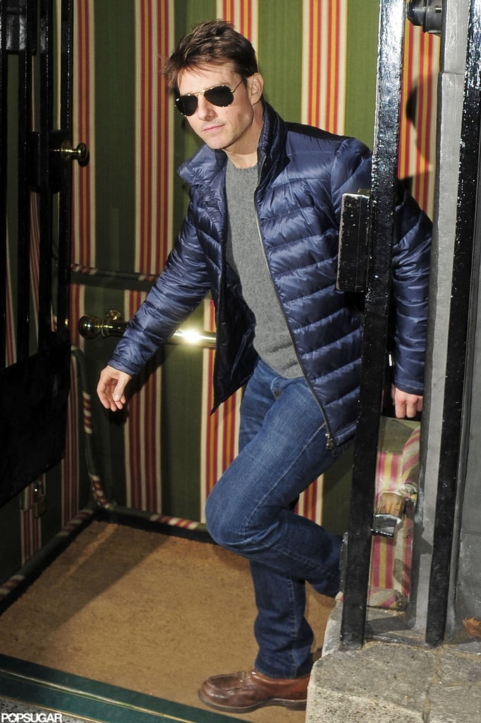 Tom Cruise was dressed warmly for a night out.