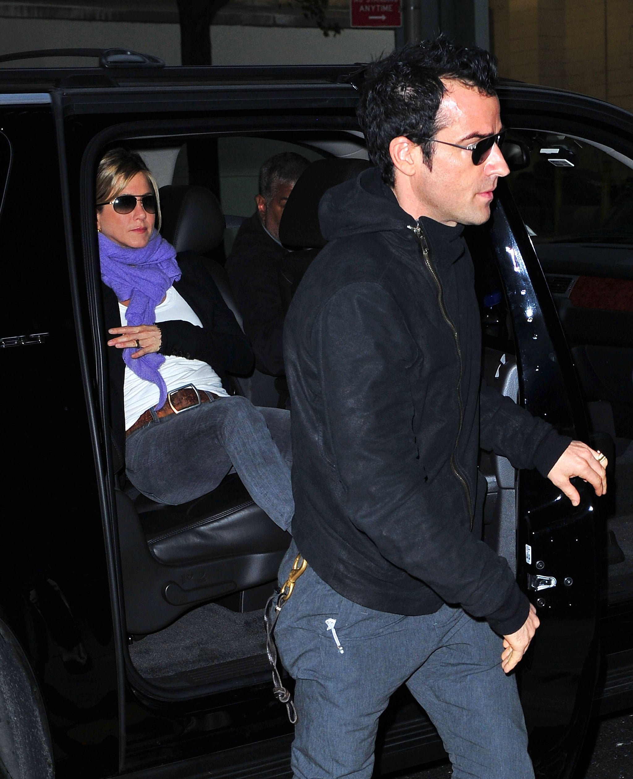 Jennifer Aniston and Justin Theroux stepped out of their car.