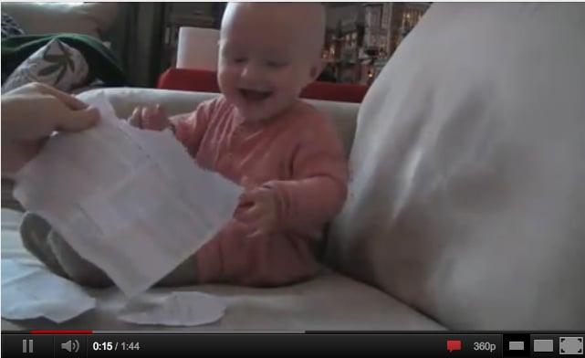 Baby Laughing at Ripped Paper