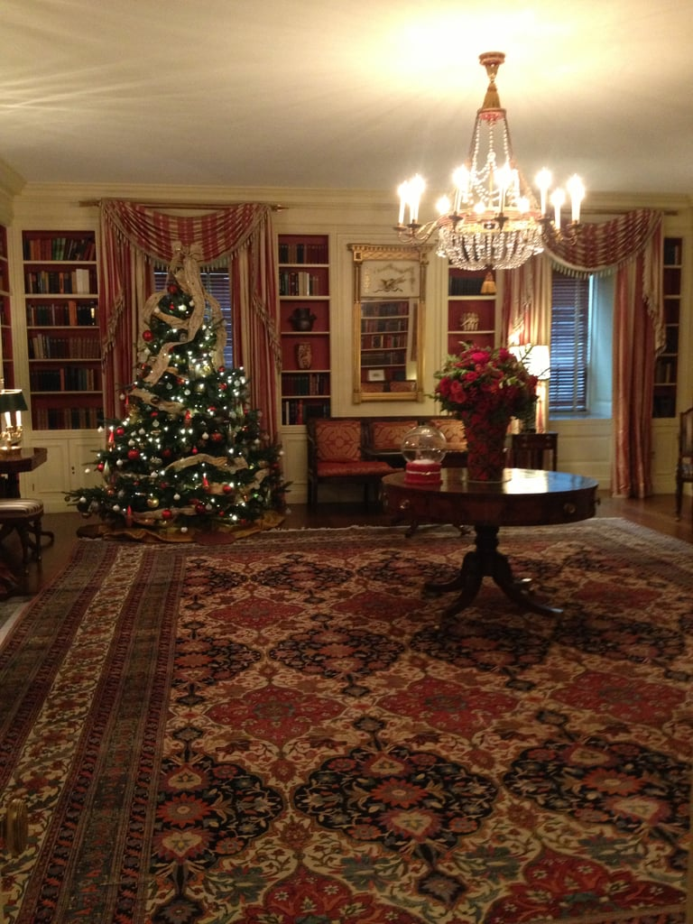 The White House's Library room holds over 2,700 books relating to American life and is now used for interviews and tea receptions.
