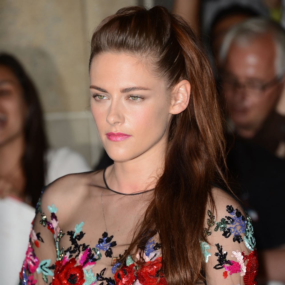 Kristen, looking prettier than ever, went half up-half down last month, and we likey. Look how healthy that hair looks!