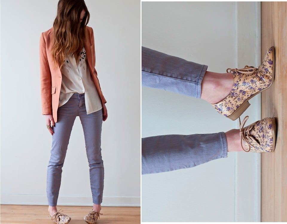 Even the most comfy, casual of flats can be spruced up, thanks to a burst of floral print. Photo courtesy of Lookbook.nu