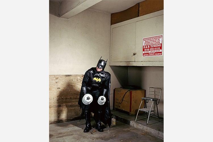 """Batman Working Out in Garage,"" Gregg Segal"