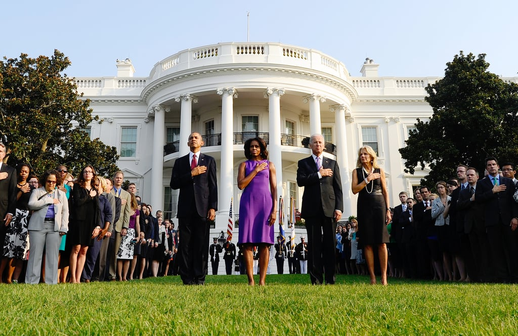 President Obama, Michelle Obama, Vice President Joe Biden, and Jill Biden stood in front of the White House during a moment of silence to honor the 9/11 anniversary.