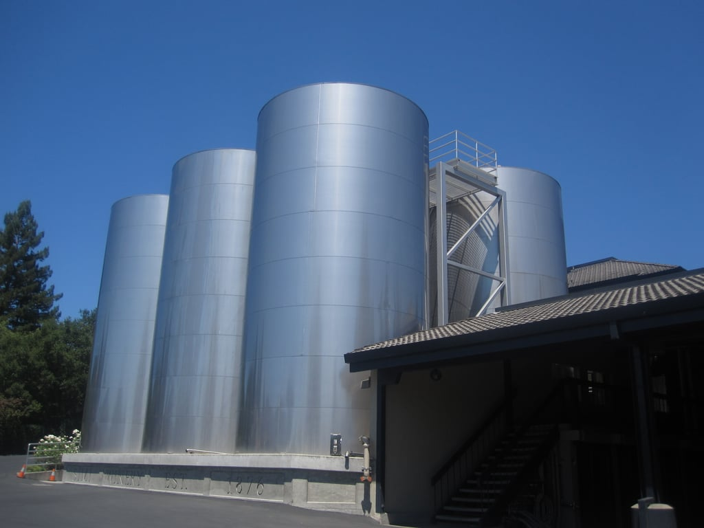 Although Simi's grapes are grown in different parts of the valley and the wine is not bottled on site, the wine is made here. The winery's bread and butter is Chardonnay. It recently added these stainless steel blending tanks to the grounds.
