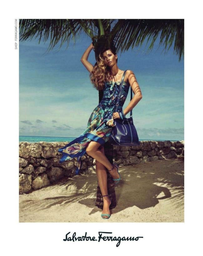 Gisele Bundchen makes us yearn for a tropical vacation in the Salvatore Ferragamo Spring 2012 ad campaign. Source: Fashion Gone Rogue