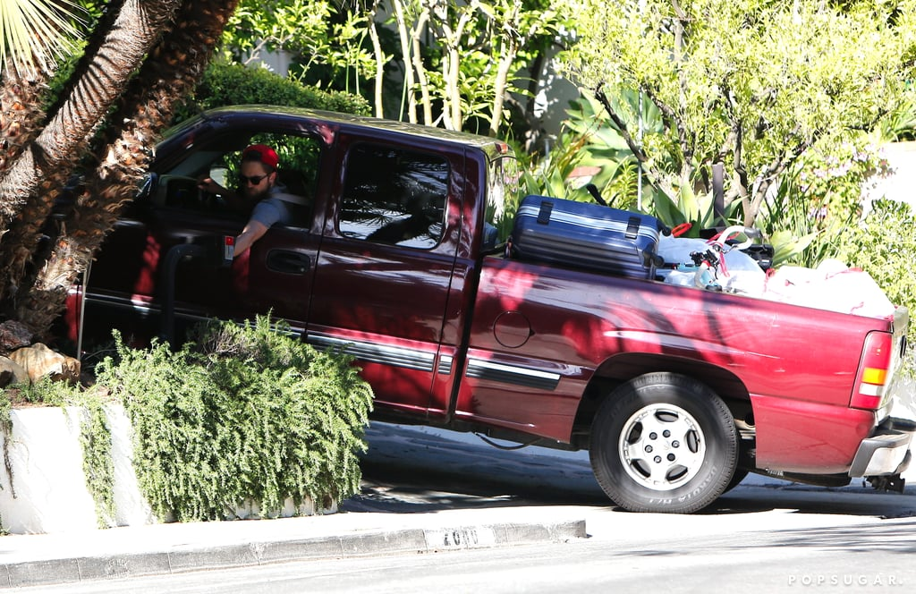 Robert Pattinson's truck was loaded with items.
