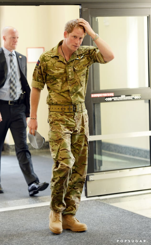 On Thursday, Prince Harry wore fatigues while visiting with other soldiers in Maryland.