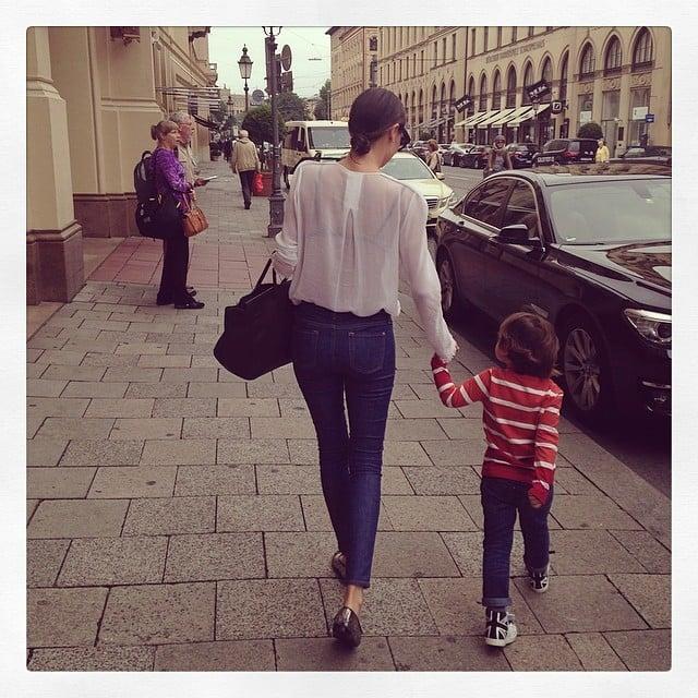 Miranda Kerr and Flynn Bloom walked hand-in-hand down the street.  Source: Instagram user mirandakerr