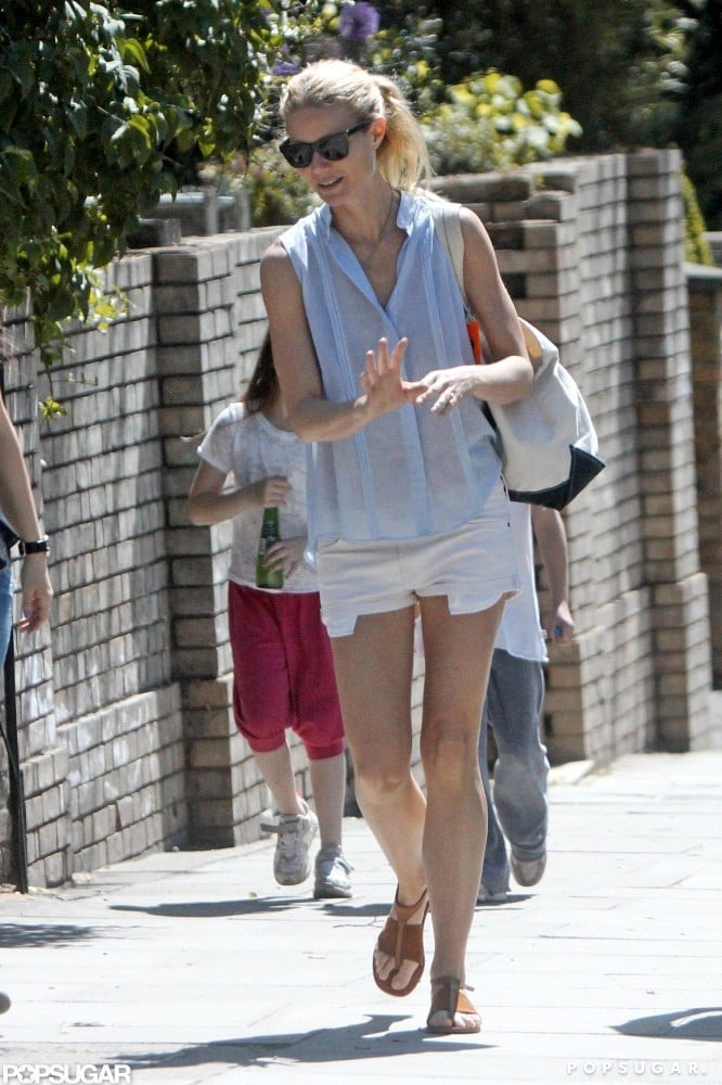 Gwyneth Paltrow wore short white shorts out in London.