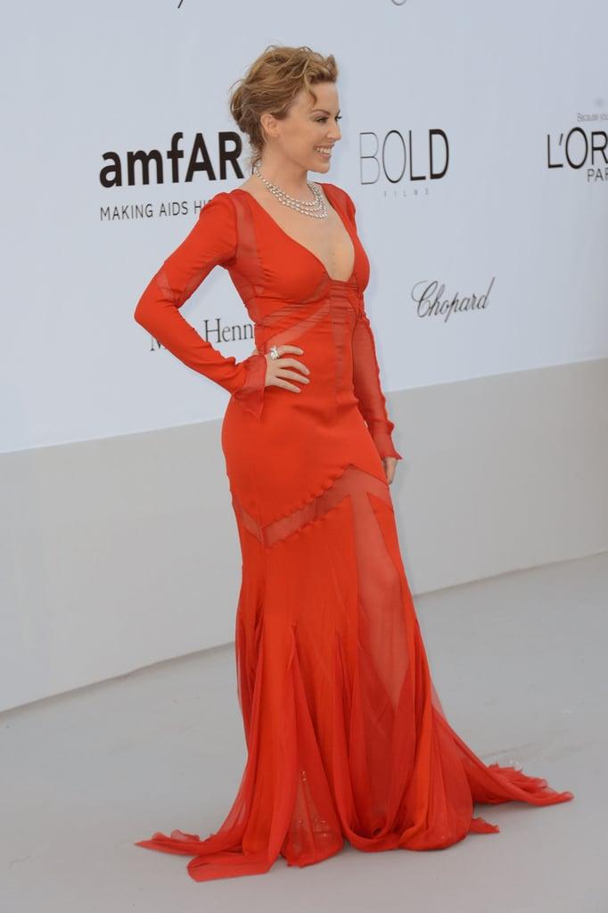 Kylie Minogue chose a red gown for the amfAR Cinema Against AIDS gala.