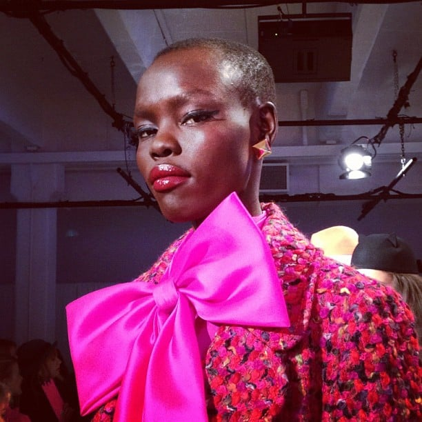 The classic makeup at Kate Spade featured red lips and winged liner.