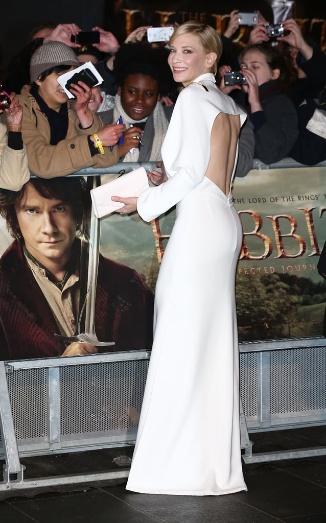 Cate Blanchett was glowing in white at the Royal Film Performance of her new movie, The Hobbit: An Unexpected Journey in London on Wedensday.