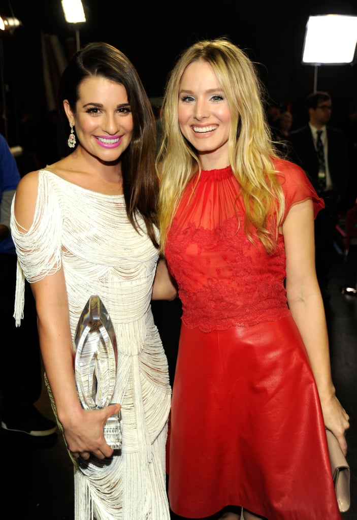 Lea posed backstage with Kristen Bell at the People's Choice Awards in LA in January 2012.
