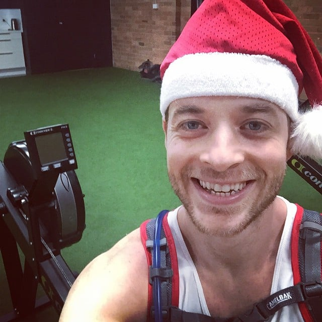 This is the face of a man about to row 42 kilometres on an indoor rowing machine. In Dec. 2014.