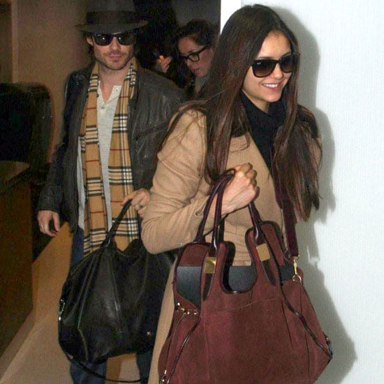 Nina Dobrev Carrying Brown Suede Bag