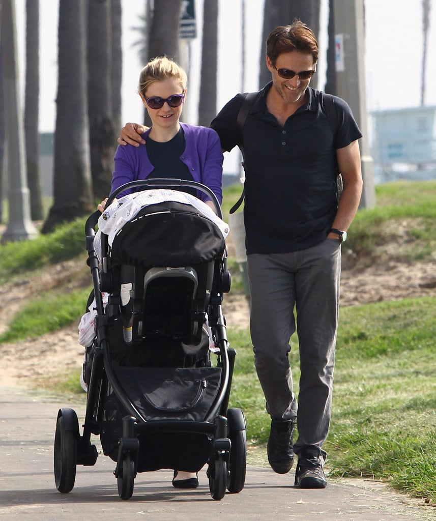 Anna Paquin and Stephen Moyer smiled during a walk with their babies.