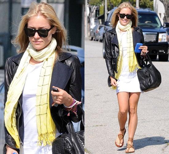 Photo of Kristin Cavallari Wearing White Dress and Leather Jacket in LA