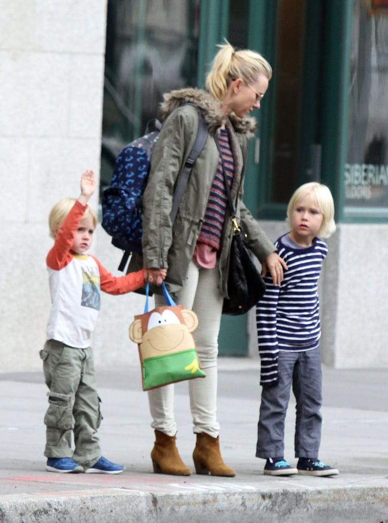 Naomi Watts was spotted in NYC with Kai Schreiber and Sasha Schreiber.