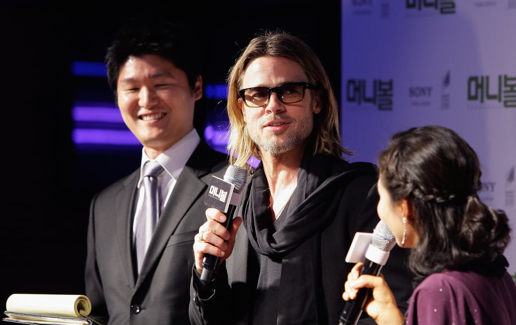 Brad Pitt stopped for an interview at his premiere.
