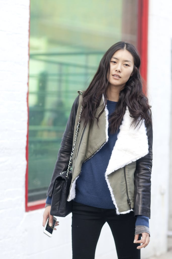 A shearling-lined jacket provided as much warmth as it did style.