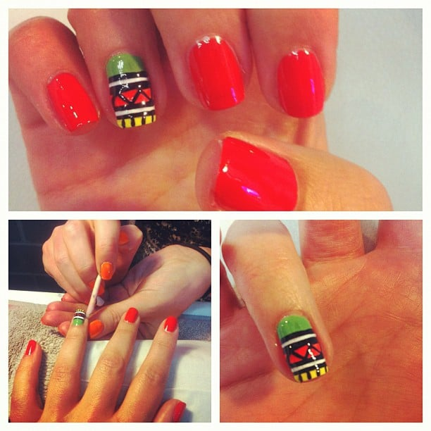 Alison was treated to some very special nail art, thanks to Get Nailed. We love this bright Aztec-style effort!
