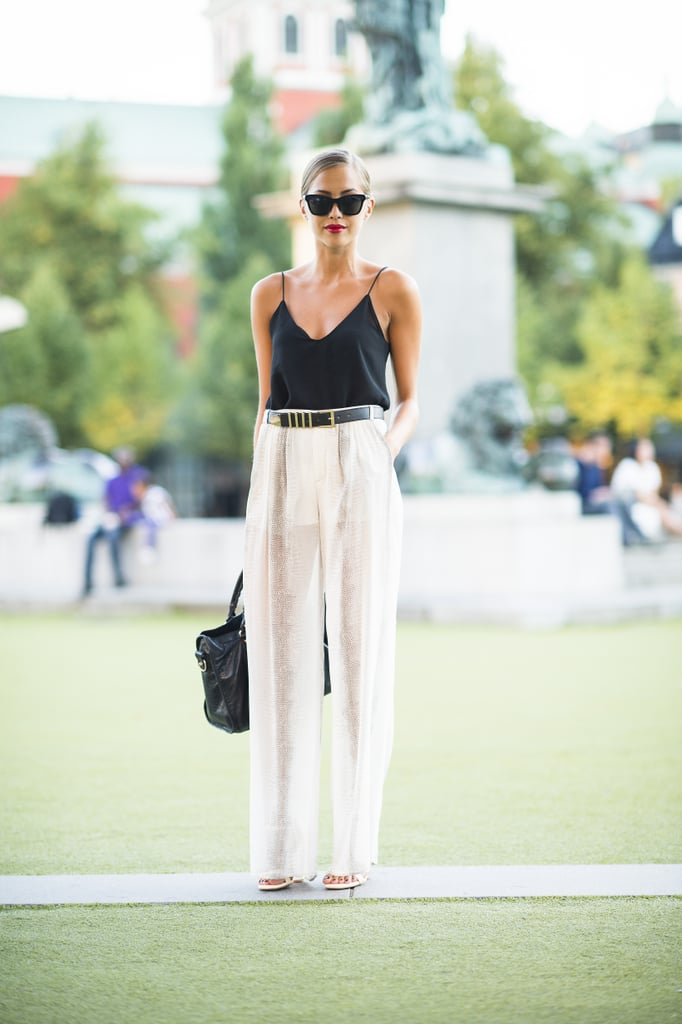 Early Fall days mean getting away with breezy trousers — and showing off your tan. Source: Le 21ème | Adam Katz Sinding