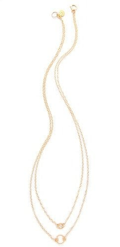 Swap out heavy chains for a lightweight necklace like this pretty Gorjana double rope necklace ($50).