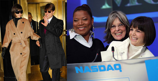 Katie Holmes, Queen Latifah, and Diane Keaton at NASDAQ