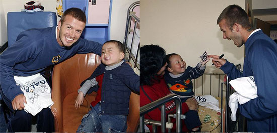 David Beckham Visits With Sick Kids in a Hospital in China