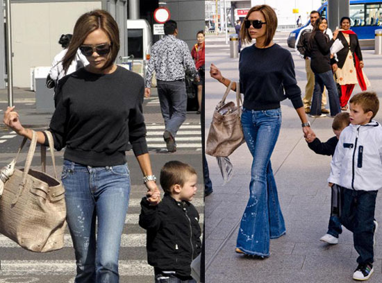 Victoria Beckham at Heathrow With Romeo and Cruz