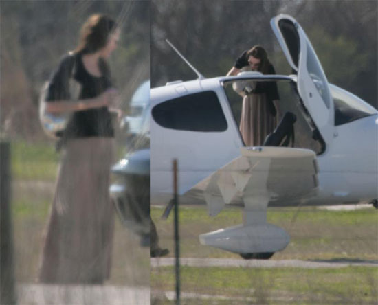 Angelina's Baby Bump Doesn't Keep Her Out of the Cockpit