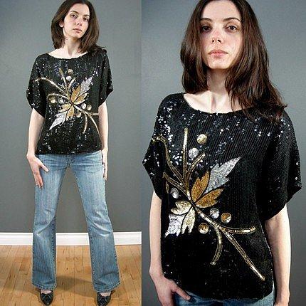 Etsy :: PrettyRaccoon :: Sequin black gold top Vintage Medium