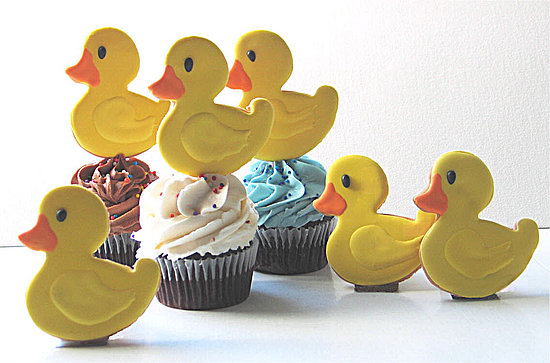 Rubber Duckling Cookies, Rubber Ducks, Baby Cookies by Rolling Pin Productions