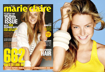 Jennifer Hawkins without makeup in Marie Claire