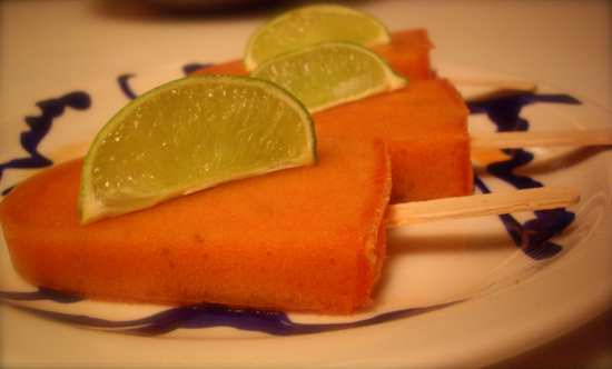 Recipe for Cantaloupe and Cucumber Paletas (Popsicles)