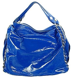 The Look For Less: Elisa Atheniense Patent Blue Handbag